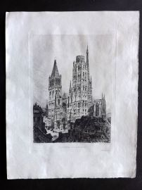 Adeline 1880 Antique Etching. Cathedrale Vue d'Ensemble, Rouen Illustre. France